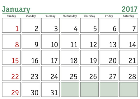 enero: calendario digital simple para enero de 2017. Vector calendario imprimible. planificador mensual. La semana comienza el domingo. calendario Inglés