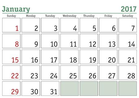 january: Simple digital calendar for January 2017. Vector printable calendar. Monthly scheduler. Week starts on Sunday. English calendar