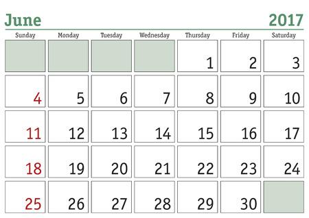 meses del a  ±o: calendario digital simple para junio de 2017. Vector calendario imprimible. planificador mensual. La semana comienza el domingo. calendario Inglés Vectores