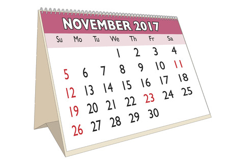 days of the week: November month in an english calendar for year 2017 with USA festive days. Week starts on Sunday Illustration