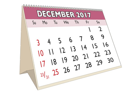 days of the week: December month in an english calendar for year 2017 with USA festive days. Week starts on Sunday