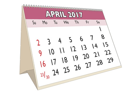 days of the week: April month in an english calendar for year 2017 with USA festive days. Week starts on Sunday