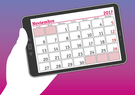 tablet pc in hand: november 2017, noviembre 2017. A hand holds a tablet pc with a calendar sheet in spanish. Illustration
