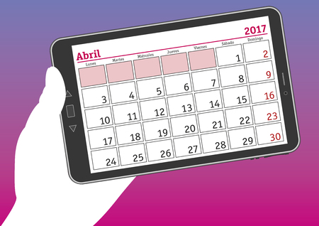 tablet pc in hand: April 2017, abril 2017. A hand holds a tablet pc with a calendar sheet in spanish. Illustration