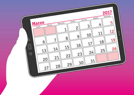 tablet pc in hand: March 2017, marzo 2017. A hand holds a tablet pc with a calendar sheet in spanish. Illustration