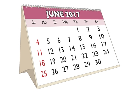 days of the week: June month in an english calendar for year 2017 with USA festive days. Week starts on Sunday Illustration