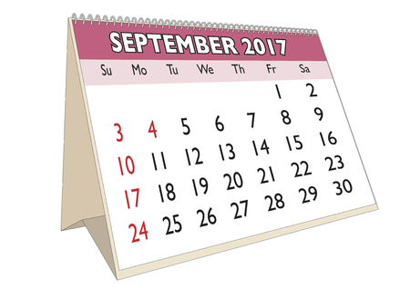 days of the week: September month in an english calendar for year 2017 with USA festive days. Week starts on Sunday