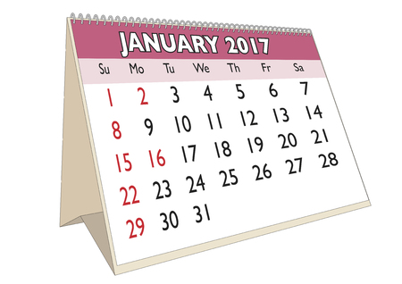 desk calendar: January month in an english calendar for year 2017 with USA festive days. Week starts on Sunday