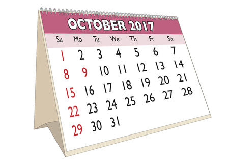 days of the week: October month in an english calendar for year 2017 with USA festive days. Week starts on Sunday