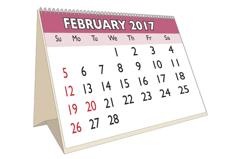 days of the week: February month in an english calendar for year 2017 with USA festive days. Week starts on Sunday Illustration