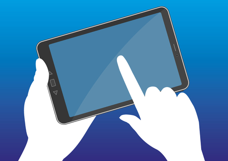 tablet pc in hand: Left hand holds a tablet pc and right hand is touching the display. Wireless communication technology. Vector illustration