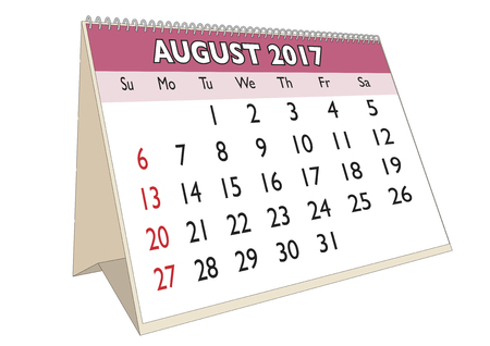 days of the week: August month in an english calendar for year 2017 with USA festive days. Week starts on Sunday Illustration