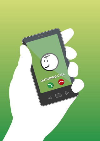 phone and call: Hand holding smartphone with outgoing call on screen. Green background. Illustration.