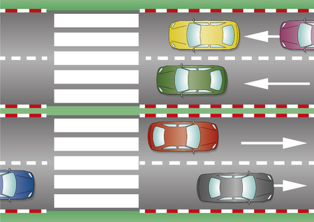 pedestrian crossing: Several cars are awaiting in the pedestrian crossing. Crosswalk, zebra crossing, pedestrian pass Illustration