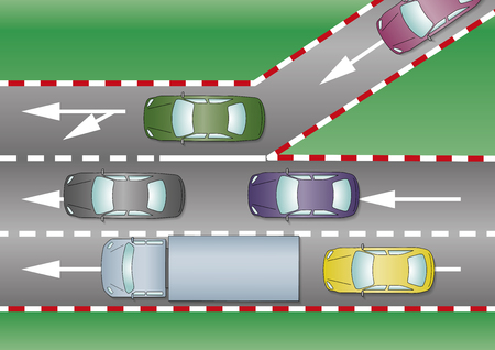 motorway: Cars join the motorway through the freeway�s entrance. Traffic concept