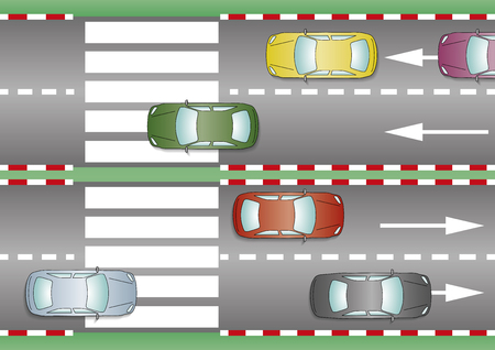 crossing street: Cars over the pedestrian crossing. Crosswalk, zebra crossing, pedestrian pass
