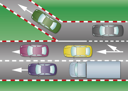 Deviation to other road from a highway's exit. Traffic concept