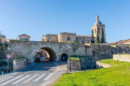 fortify: Entrance gate of Ciudad Rodrigo in Salamanca, Castile and Leon, Spain Stock Photo