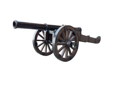 armament: Iron cannon isolated over a white background. Ancient armament for war