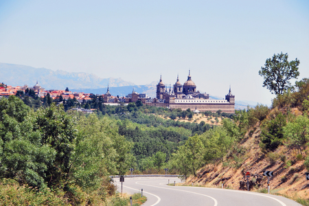 declared: View of royal seat of san lorenzo de el escorial from the road. Unesco declared it as world heritage site. Community of Madrid. Spain