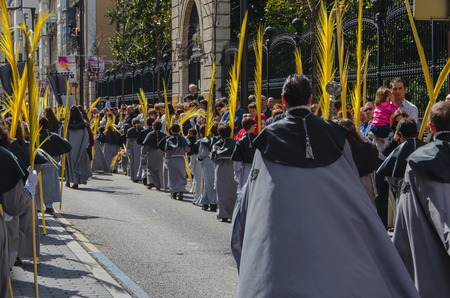christianity palm sunday: VALLADOLID, SPAIN - MARCH 29, 2015: Rear view of a brotherhood of boys and girls marching in a procession  in Valladolid, Spain.
