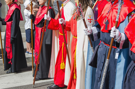 christianity palm sunday: VALLADOLID, SPAIN - MARCH 29, 2015: Brotherhood marching in a procession on March 29, 2015 in Valladolid, Spain. Valladolid has some os the most famous processions in the spanish sacred week