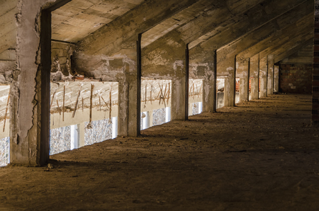 urban decay: Perspective view of an abandoned attic. Urban decay Stock Photo