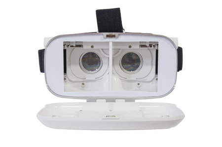 Front view of an open virtual reality headset isolated on white
