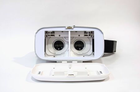Front view of an open virtual reality headset. Lenses are adjustable