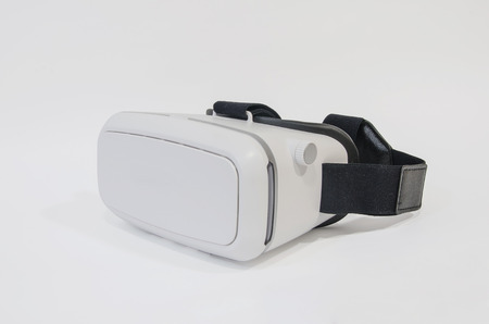 Virtual reality headset in white. New entertainment gadget based in stereoscopy