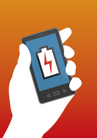 recharge: A hand holding an smartphone with an out of battery icon. Mobile technology.