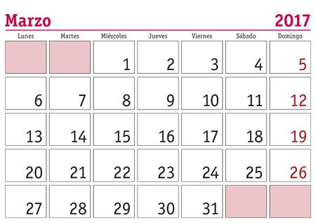 calendrier: mois Mars dans un calendrier mural 2017 en espagnol. Marzo 2017. Calendario 2017