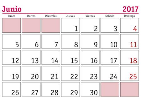 June month in a year 2017 wall calendar in spanish. Junio 2017. Calendario 2017