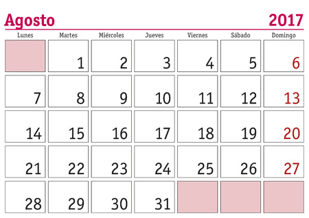 August Month In A Year 2017 Wall Calendar In Spanish. Agosto ...