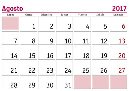 calendars: August month in a year 2017 wall calendar in spanish. Agosto 2017. Calendario 2017