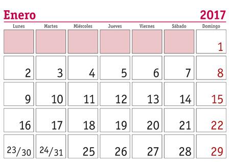 january calendar in sapinsh 2018
