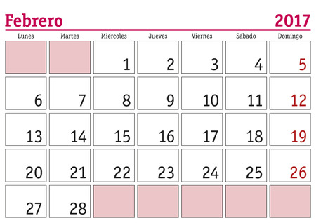 February month in a year 2017 wall calendar in spanish. Febrero 2017. Calendario 2017 Illustration