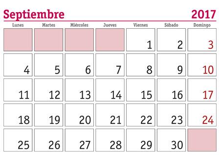 september calendar: September month in a year 2017 wall calendar in spanish. Septiembre 2017. Calendario 2017