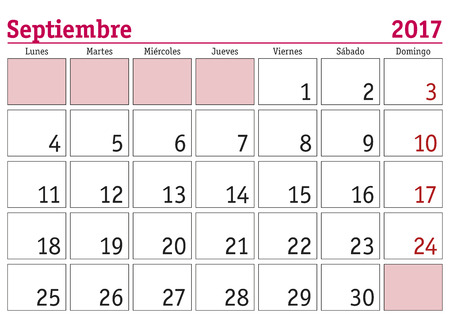 calendar page: September month in a year 2017 wall calendar in spanish. Septiembre 2017. Calendario 2017