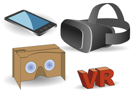 headset: Virtual reality equipment. Virtual reality headset, vr cardboard and a mobile phone.