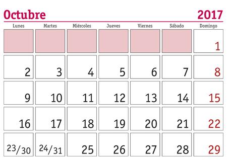 Oktober Monat in einem Wandkalenderjahr 2017 in Spanisch. Octubre 2017. Calendario 2017 Vektorgrafik