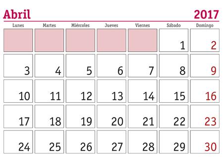calendar page: April month in a year 2017 wall calendar in spanish. Abril 2017. Calendario 2017