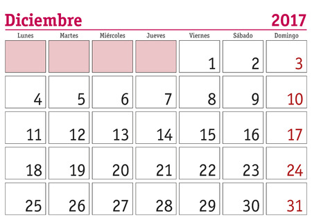 month: December month in a year 2017 wall calendar in spanish. Diciembre 2017. Calendario 2017 Illustration