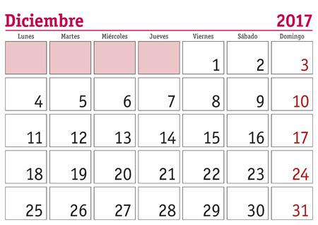 calendario diciembre: el mes de diciembre en un calendario de pared 2017 en español. Diciembre de 2017. Calendario 2017 Vectores