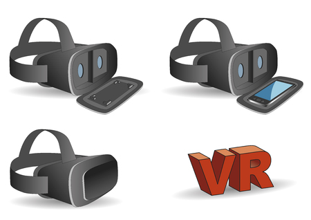 mobile headset: VR headset in black equipped with a mobile phone. New technology gadget for use in immersive 3d experiences