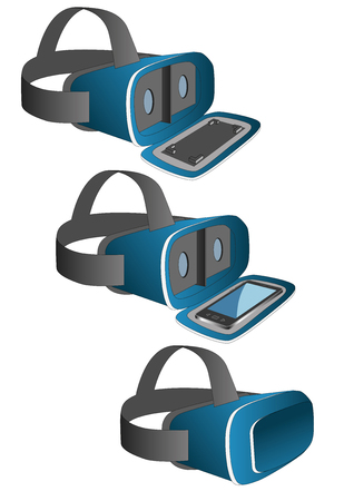 virtual reality simulator: VR headset in blue equipped with a mobile phone. New technology gadget for use in immersive 3d experiences Illustration