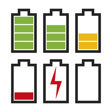 Icons sowing different charge status in an electric battery. Full charge, medium charge, low charge, empty, out of battery. Stock Illustratie