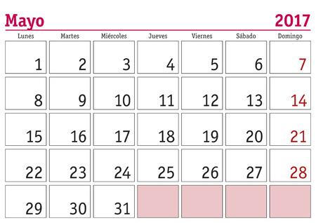 meses del a  ±o: el mes de mayo en un calendario de pared 2017 en español. Mayo de 2017. Calendario 2017 Vectores