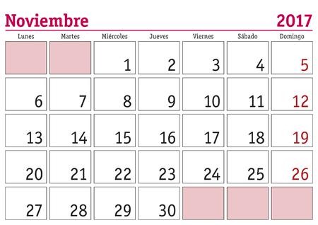 calendario noviembre: el mes de noviembre en un calendario de pared 2017 en español. Noviembre de 2017. Calendario 2017