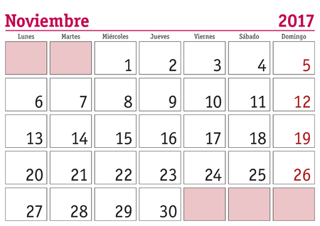 monthly planner: November month in a year 2017 wall calendar in spanish. Noviembre 2017. Calendario 2017